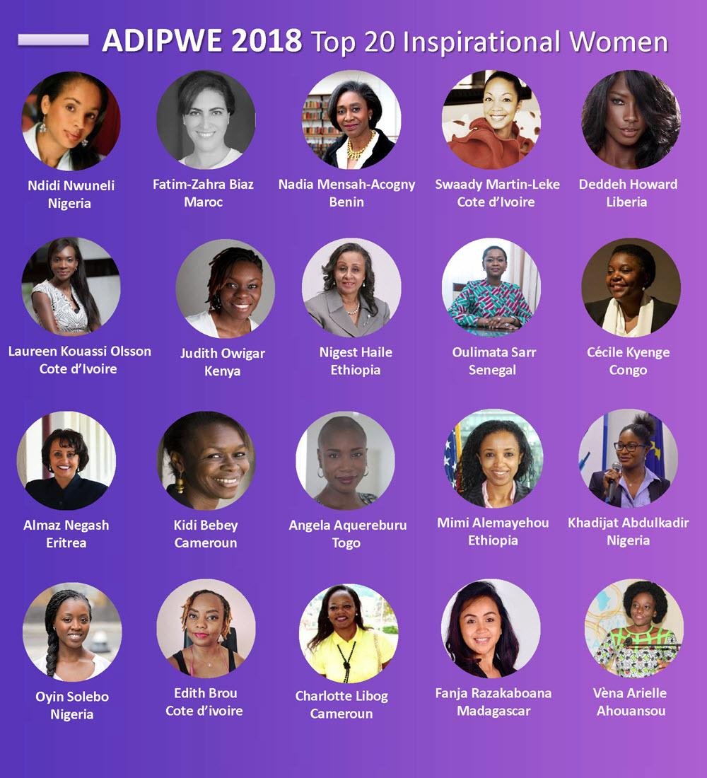 Top 20 African Women ADIPWE 2018  list