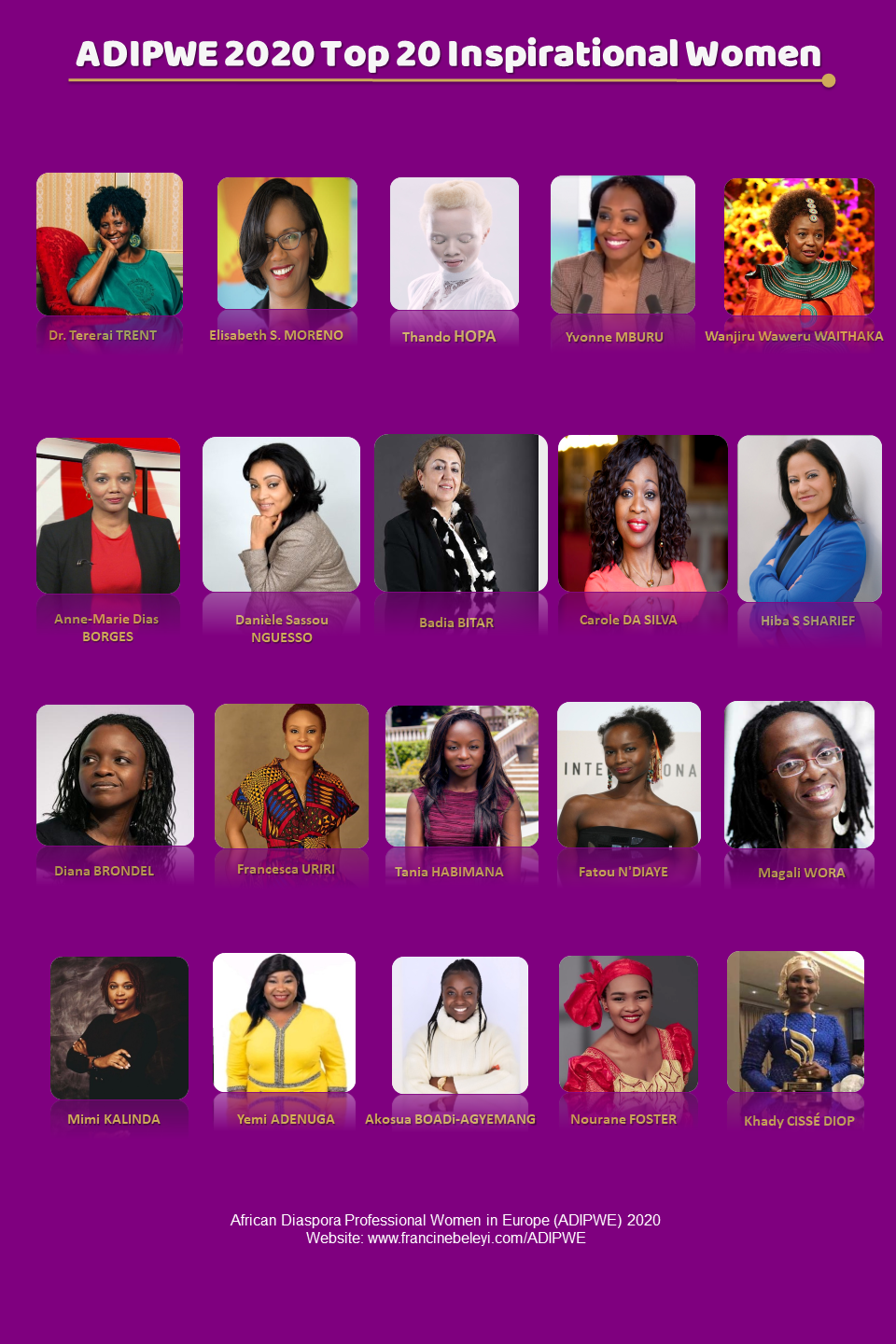 20 Women ADIPWE List 2020 - African Diaspora Professional Women in Europe - IWD2020
